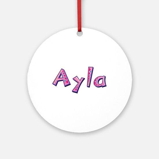 Ayla Pink Giraffe Round Ornament