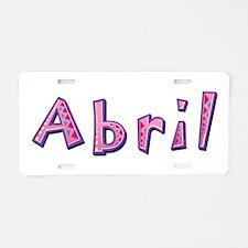 Abril Pink Giraffe Aluminum License Plate