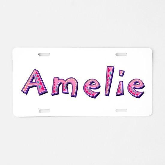 Amelie Pink Giraffe Aluminum License Plate