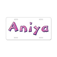 Aniya Pink Giraffe Aluminum License Plate