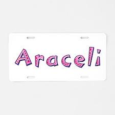 Araceli Pink Giraffe Aluminum License Plate