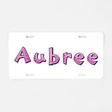 Aubree Pink Giraffe Aluminum License Plate