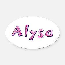Alysa Pink Giraffe Oval Car Magnet