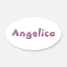Angelica Pink Giraffe Oval Car Magnet