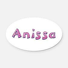 Anissa Pink Giraffe Oval Car Magnet