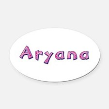 Aryana Pink Giraffe Oval Car Magnet