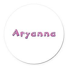 Aryanna Pink Giraffe Round Car Magnet