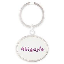 Abigayle Pink Giraffe Oval Keychain