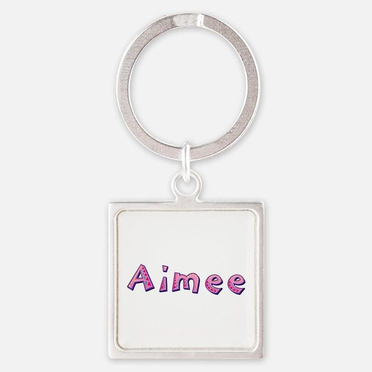 Aimee Pink Giraffe Square Keychain