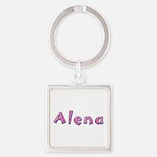 Alena Pink Giraffe Square Keychain