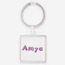 Amya Pink Giraffe Square Keychain
