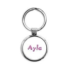 Ayla Pink Giraffe Round Keychain