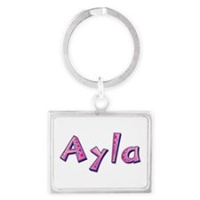 Ayla Pink Giraffe Landscape Keychain