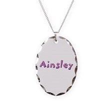 Ainsley Pink Giraffe Oval Necklace