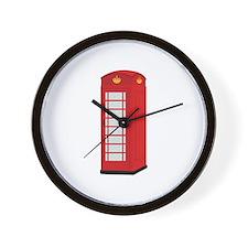Red Telephone Box Wall Clock