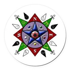 Pentacle Compass Rose Round Car Magnet
