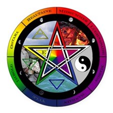 Pentacle Wheel Of The Year Round Car Magnet