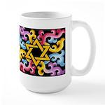 Rainbow Scroll-Star (black) Large Mug