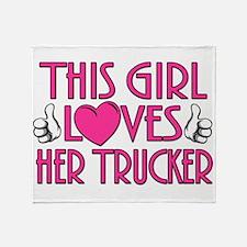 This Girl Loves Her Trucker Throw Blanket
