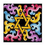 Rainbow Scroll-Star (black) Tile Coaster