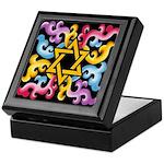 Rainbow Scroll-Star (black) Keepsake Box