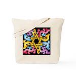 Rainbow Scroll-Star (black) Tote Bag