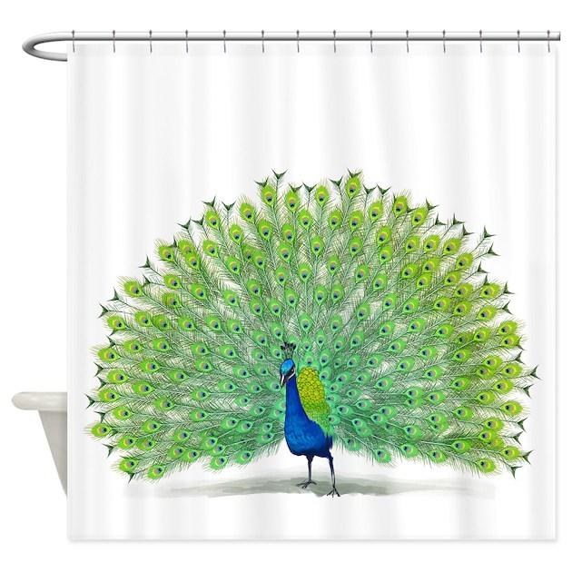 Colorful Peacock Design Shower Curtain By Lizardgrafix