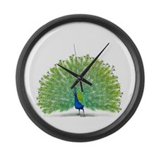Colorful Peacock Design Large Wall Clock