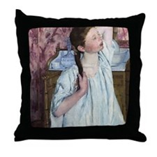 Mary Cassatt, Girl Arranging Her Hair Throw Pillow