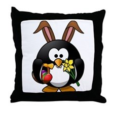 Easter Bunny Penguin with Eggs Throw Pillow