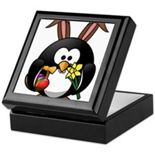 Easter Bunny Penguin with Eggs Keepsake Box