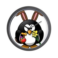 Easter Bunny Penguin with Eggs Wall Clock