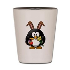 Easter Bunny Penguin with Eggs Shot Glass