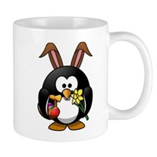 Easter Bunny Penguin with Eggs Mugs