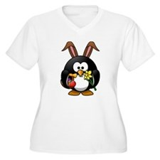 Easter Bunny Penguin with Eggs Plus Size T-Shirt