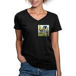 Lemon Blue OE Pair Women's V-Neck Dark T-Shirt