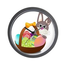 Easter Bunny with Egg Basket Wall Clock