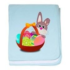 Easter Bunny with Egg Basket baby blanket