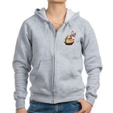 Easter Bunny with Egg Basket Zip Hoodie