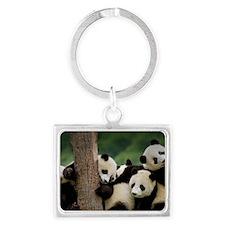 Panda Babies Landscape Keychain