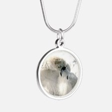 Polar Bear Silver Round Necklace