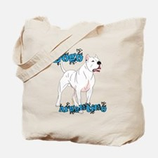 Dogo Argentino Blue Letters Tote Bag