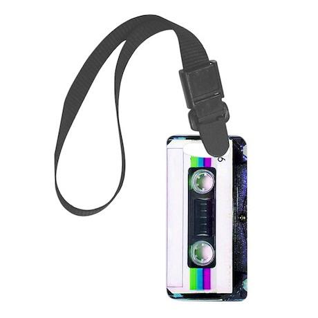 Metallic Mixed Tape - Blue Small Luggage Tag