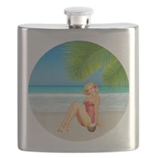 Pin Up Beach Girl Flask