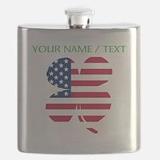 Custom American Flag Shamrock Flask