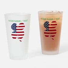 Custom American Flag Shamrock Drinking Glass