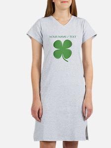 Custom Green Four Leaf Clover Women's Nightshirt
