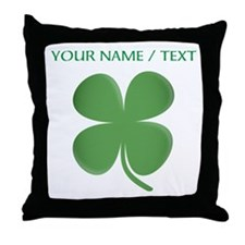 Custom Green Four Leaf Clover Throw Pillow
