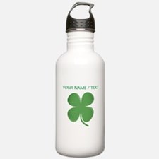 Custom Green Four Leaf Clover Water Bottle