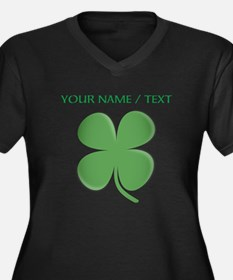 Custom Green Four Leaf Clover Plus Size T-Shirt